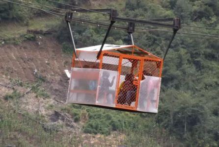 Cable vía en el Resguardo de San José, municipio de Páez, departamento del Cauca