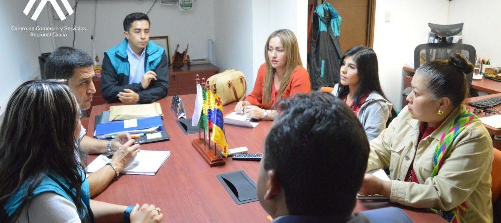 Reunión de articulación con el Subdirector del Centro de Comercio y Servicios del SENA Regional Cauca, Edward Enrique Vivas y su equipo de trabajo, para planear acciones interinstitucionales en la vigencia 2017.